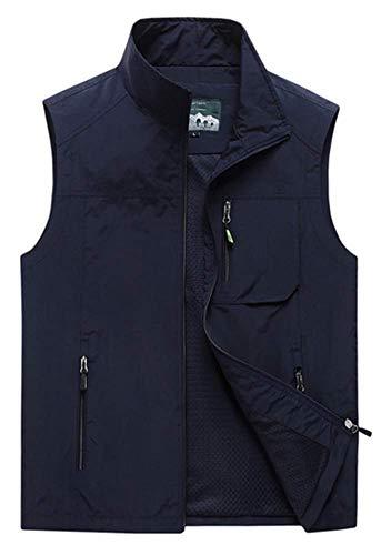 Pengyun Outdoor Multi Pockets Weste,Outdoor Weste Anglerweste,Freizeitweste für Herren,Darkblue,7XL