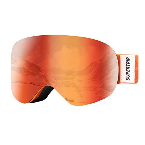 Supertrip Skibrille Kinder Snowboardbrille Kinderskibrille Verspiegelt Doppel-Objektiv brillenträger UV-Schutz Anti-Fog für Jungen Mädchen Alter 7-13 Snowboarden(Grey Revo Orange (VLT 31%))