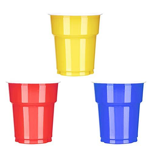 Amosfun 60 Piezas 250 ml Desechables Vasos de plástico Tazas de plástico Tazas para Beber Copas de Vino Copas para Fiestas (Tres Colores)