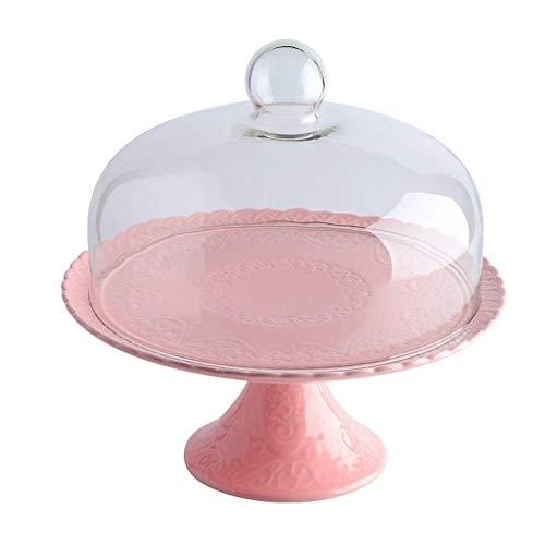 セラミックケーキスタンド、ペストリーサンドイッチデザートテイスティングトレイチップ&ディップServerのガラスダストドームウェディングパンフルーツの保存カバーピンクのケーキスタンド(Size:25.5*25.5*23.5CM)
