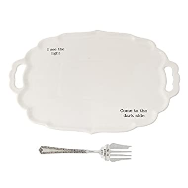 Mud Pie 4071155 Talk Turkey to Me Ceramic Platter, White