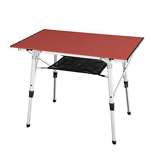 miwaimao Mesa plegable de aluminio portátil multifunción plegable con malla de nailon, altura ajustable, duradero, estable y resistente a los arañazos, para la familia Picnic barbacoa