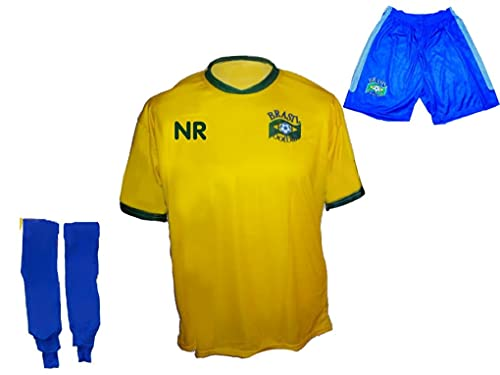Spielfussballshop Brasilien Trikot Hose Stutzen mit Wunschname Nummer Kinder Größe 152