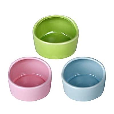 POPETPOP 3pcs Hamster Feeding Bowls Anti-bite Ceramic Food Bowls Hamster Eating Basin Feeder (Random Color) by POPETPOP