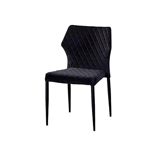 AINPECCA Esszimmerstühle aus Samt, gepolstert, mit Metallbeinen, Retro-Design, Schwarz, 1 Stück