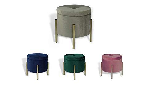 Avior Home Sitzhocker Schminkhocker aus Samt Sitzwürfel Aufbewahrungsfußhocker mit Metallbeine Rund (Grau)