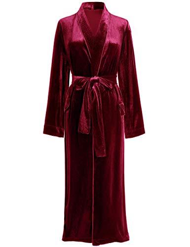 PRODESIGN Damen Bademantel Velvet Morgenmantel Velours Elgant Samt Bademantel mit Gürtel Größe S-XL Loungewear Damen Nachtwäsche für Frauen (Weinrot, L)