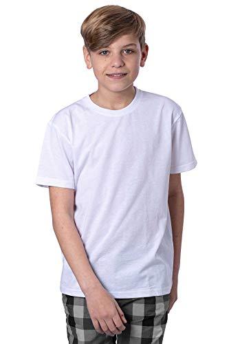 Mivaro Jungen T-Shirt mit Rundhals meliert einfarbig Bügelfrei, Größe:164, Farbe:Weiß