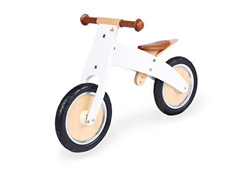 Pinolino Laufrad Johann, Holzlaufrad, unplattbare Bereifung, umbaubar vom Chopper zum Laufrad, für Kinder ab 2 Jahren, weiß lackiert