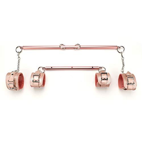 2pcs Rose Gold Adjustable Spreader Bar with 4 Fur Pink