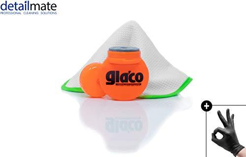 detailmate Glasversiegelung Set: Soft99 Glaco Roll On Large + Liquid Elements Streak Buster + Nitril-Schutzhandschuhe