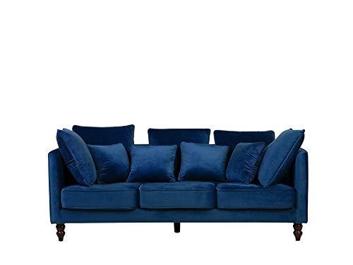 Canapé 3 places Bleu Velours Vintage