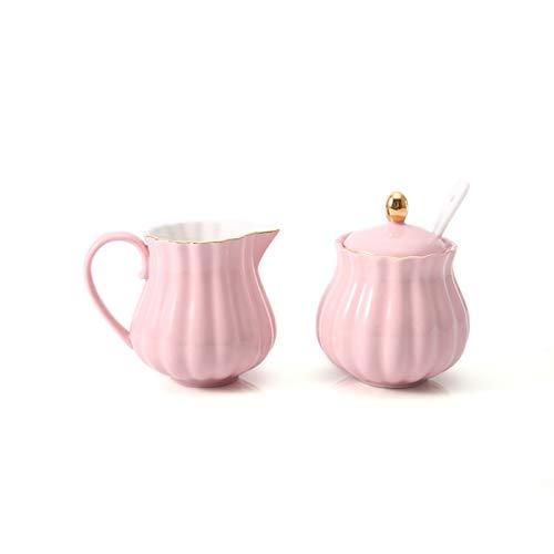 Xiaokeai Cuencos de azúcar de cerámica y Jarra de Leche Combinación Utensilios para el hogar Accesorios Accesorios Accesorios de azúcar con párpado Boca Puntiaguda Jarra de Leche (Color : Pink)