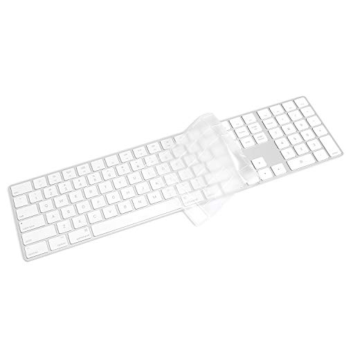 ProElife Ultra Thin Keyboard Cover Skin for Apple Magic Keyboard with Numeric Keypad A1843 US Layout (Model: MQ052LL/A Wireless Bluetooth Keyboard) Full Size TPU Protector, 0.13 mm (Transparent Clear)