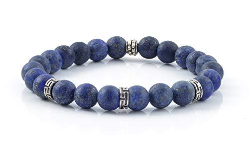 10:10 Bracciale elastico con pietre naturali lapislazzuli frost da 8 mm, bracciale molto resistente, prodotto in Italia… (Lapislazzuli)