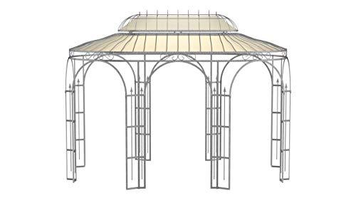 ELEO Verona wunderschöner Gartenpavillon Winterfest I Stabiler Ovalpavillon Feuerverzinkt Ø 4x2,85m I Stabiler Rosenpavillon aus Schmiedeeisen mit Sonnensegel I Pavillon für Garten