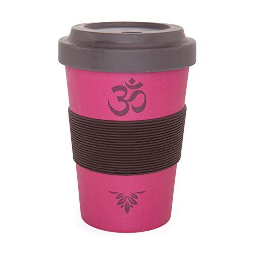YogiCup2Go, Bambus Coffee-to-go-Becher, Bamboo-Cup als Mehrweg-Tasse für unterwegs, mit Silikon-Manschette und Schraubdeckel, 480 ml Fassungsvermögen (OM, Berry)