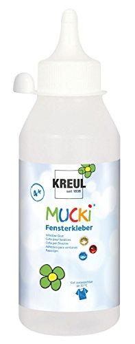 Kreul 42802 - Mucki Fensterkleber, parabenfrei, glutenfrei, laktosefrei, vegan, lösemittelfrei, geruchslos, auswaschbar, geeignet um Dekoration und Bastelarbeiten auf Fenster zu kleben, 250 ml