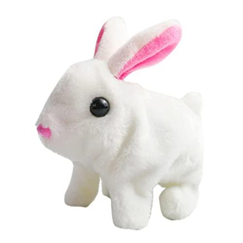 QKFON Juguete de conejo eléctrico lindo juguete suave con orejas de caminar realista de peluche de peluche juguete interactivo conejo juguete suave regalo de cumpleaños de Navidad para niños niñas