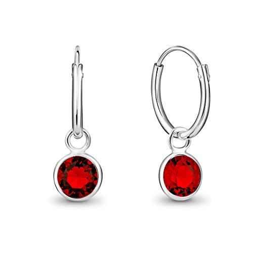 DTPsilver Pendientes de Aro Pequeños con colgante de Cristal Swarovski Elements Forma Redonda - Plata de Ley 925 - Espesor 1.2 mm - Diámetro 12 mm - Color: Rojo Siam