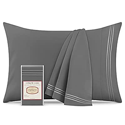 Mellanni Luxury Pillowcase Set - Brushed Microfiber 1800 Bedding - Wrinkle, Fade, Stain Resistant (Set of 2 King Size, Gray)