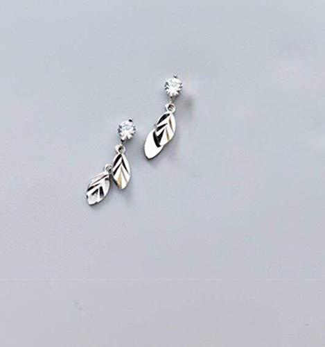 TYERY Pendientes de Hoja de Plata S925, Pendientes de un Solo Diamante de Hoja Dorada para Mujer, Pendientes Literarios, Joyería para el Oídoplata, Plata 925