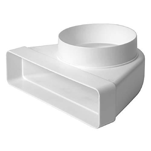 55 x 220 mm Ø 125 mm curvatura 90°, rotondo, quadrato, canale piatto, canale di scarico, tubo di ventilazione, tubo/connettore canale.