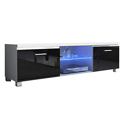 SelectionHome Módulo TV con Leds para Salón, Comedor, Modelo Led, Color Blanco Mate y Negro Brillo Lacado, Medidas: 150 cm (Ancho) x 40 cm (Alto) x 42 cm (Fondo)