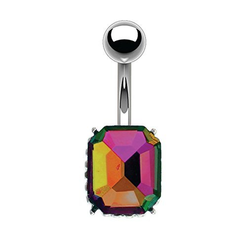 BodyJ4You Women's Belly Button Ring Aurora CZ Navel Piercing Jewelry Bar...