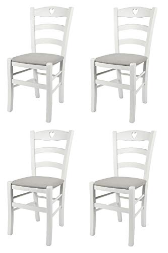 Tommychairs - Set 4 sillas Cuore para Cocina y Comedor, Estructura en Madera de Haya barnizada Color Blanco y Asiento tapizado en Tejido Color Gris Perla