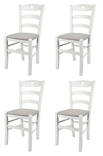 Tommychairs - Set 4 sedie modello Cuore per cucina bar e sala da pranzo, robusta struttura in Legno di faggio laccato bianco e seduta rivestita in tessuto colore grigio perla
