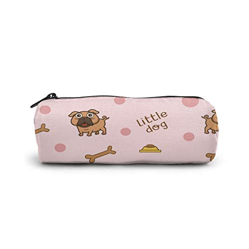 Cylinder Cosmetic Bag Little Dog Pattern Background Pencil Case Small