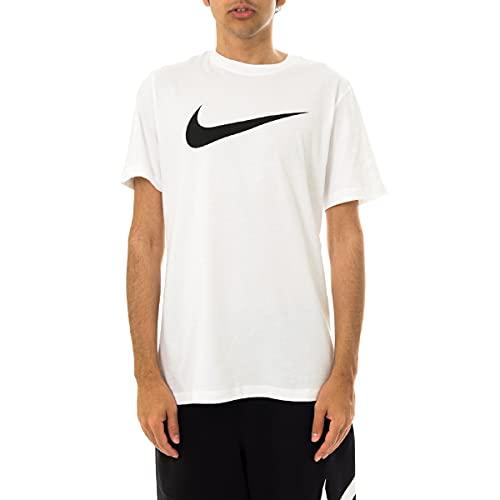 Nike M NSW Tee Icon Swoosh T-Shirt, White/(Black), L Uomo