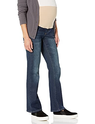 Three Seasons Maternity Women's Maternity Boot Cut Denim Jean with Nude Belly Band, Dark Wash, X-Large