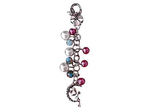 Handmade Perlen Schlüsselanhänger Fee-Elfe im Mond, Weiß, Rosa, Türkis-Braun meliert