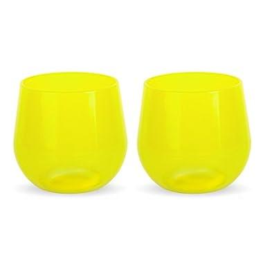 Silipint Unbreakable Silicone Polished Wine Glasses (Set of 2), 14 oz, Limelight