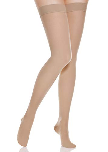 DCCDU Thigh High Compression Stockings, Firm Support 20-30 mmHg Gradient Compression with Silicone Band for Women & Men - Medical Support Hose Treatment Varicose Veins Swelling