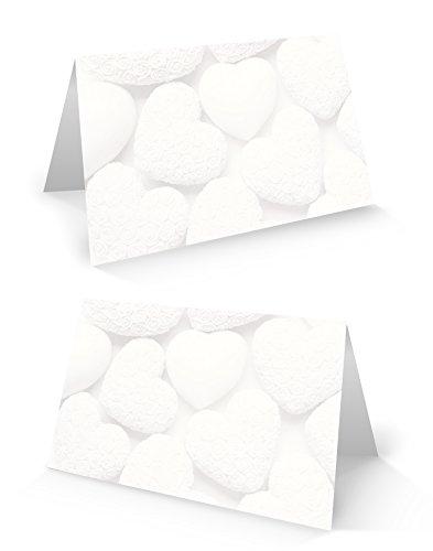 25 stuks kleine witte harten blanco plaatskaarten naamplaatjes plaatskaarten naamkaartjes voor elke pen Ideaal voor een verjaardag, doop, huwelijk, communie, Moederdag, ....
