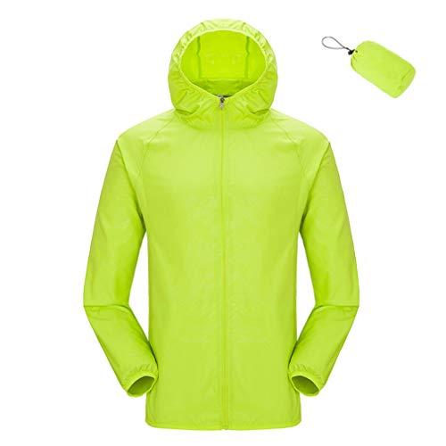 YiyiLai Outdoor Damen Herren Leichte Jacke Unisex Sonnenschutz Jacke Wasserdicht,Outwear Softhelljacke Windjacke Kapuzenjacke S Grün