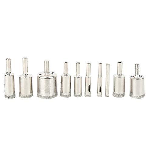 Sierra de perforación de núcleo, broca de núcleo de diamante, 10 piezas Sierra de perforación de núcleo de 6‑30 mm Abridor de broca de mármol recubierto de diamante para azulejos de vidrio