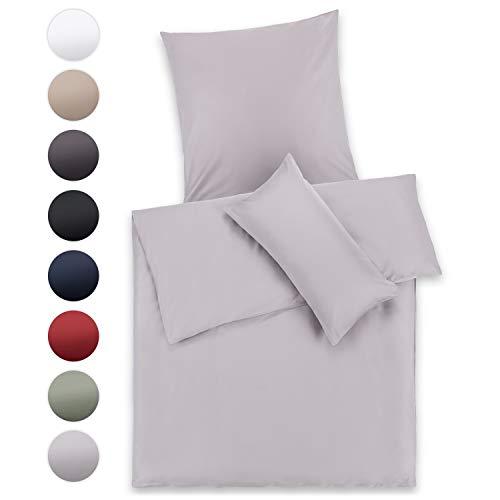 Blumtal Mako Satin Bettwäsche 135 x 200 cm mit Kissenbezug 80x80 cm - 100% Baumwolle, Superweiches Bettbezug Set Grau, Grey