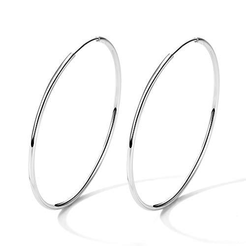 T400 Jewelers 925 Sterling Silber Creolen groß Polierte Runde Kreis Endless Ohrringe für Damen Valentinstag Geschenk,Durchmesser: 25-65mm