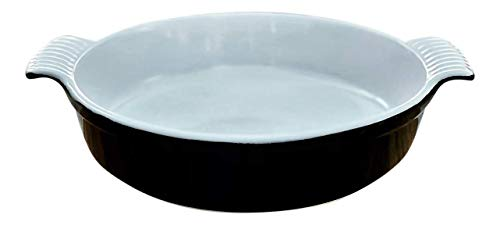 Partito Bella Circular Stoneware Baking Dish Handcrafted in Classic Black and White - 10 Inch Diameter and 2 Inches Deep Beautifully Designed Scalloped Handles Unmatched Thermal Resistance
