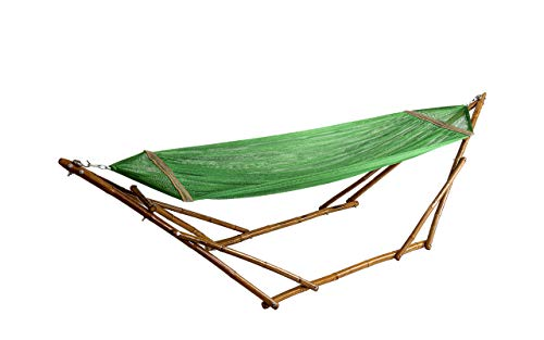 Bamboozations Bamboo Hammock Stand with Hammock New Models and Colors (Small (8ft), Green Polyester)