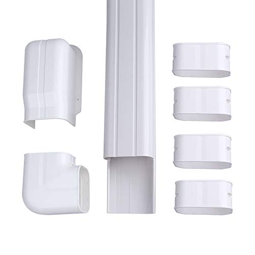 """AC Parts 4"""" W 14Ft Decorative PVC Line Set Cover Kit for Mini Split Air Conditioners, HVAC Heat Pumps 7,000-36,000 BTU Units"""