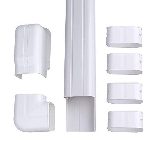 """AC Parts 4"""" W 14Ft L Decorative Wall A/C PVC Line Set Hide Cover Tubing Kit for Central Air Conditioner, HVAC Heat Pump, Ductless Mini Split 7,000-24,000 BTU Units"""
