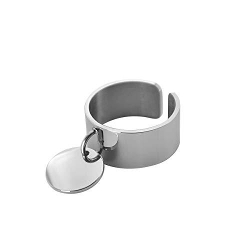 Paloma Bijoux Bague Breloque Médaille Gravure Personnalisable Ajustable en Acier Inoxydable 316L pour Femme - Gravure de prénom sur Petit médaillon