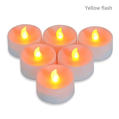 Dszltf LED Kaars, LED Tea Light, Vlamloze Kaars met Timer, automatische modus: Open voor 6 Hours, dicht voor 18 Uren, 5.5X4.0 Cm, [12 Pieces, warme kleur]