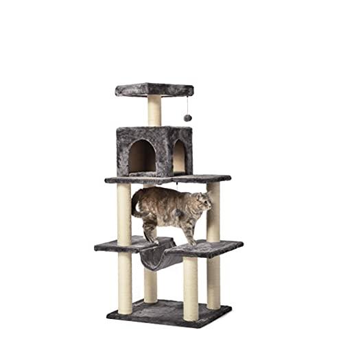 Amazon Basics - Árbol con cerraminto y hamaca para gatos, pequeño, 156,2x129,5x91,4 cm, gris oscuro