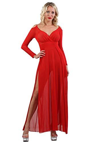 Miss Noir Damen Langärmelige Kleid Sexy Dessous aus feinem Netz, seitlich geschlitzt und offene Schultern Clubwear Partykleid (Rot, XXL-3XL)